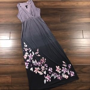 Soma floral ombré maxi gown purple grey xs